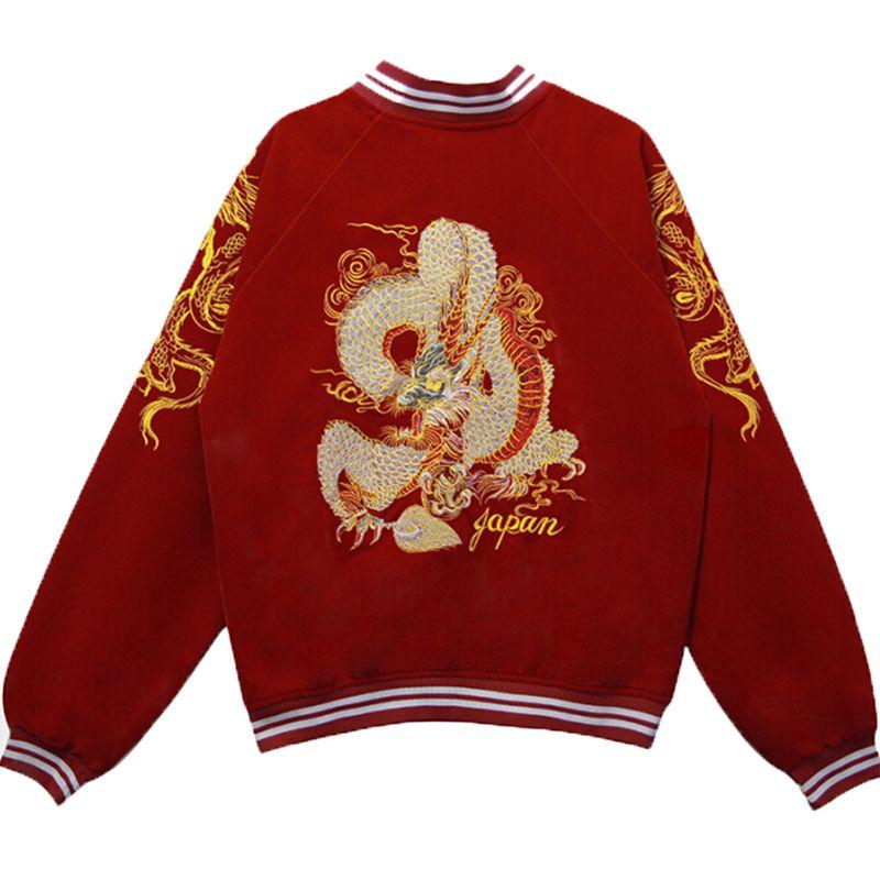 Autumn new punk embroidered dragon bomber jacket baseball uniform jacket female loose bf wind