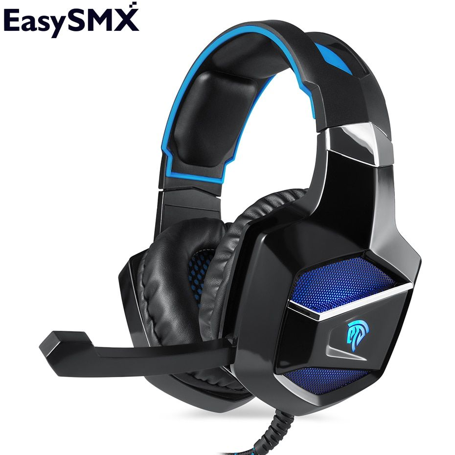 EasySMX K5 Gaming Headset Headphones with Microphone 7 LED lights Stereo Bass Noise Canceling for New Xbox one PS4 PC Gamer