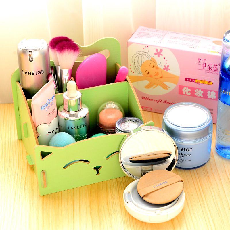 Boîte en bois Mignon Chat Stylo Boîte De Rangement De Bureau DIY Assemblée Bois Maquillage Organisateur Cosmétiques Boîte De Rangement 15.4*13*13.5 cmfree expédition