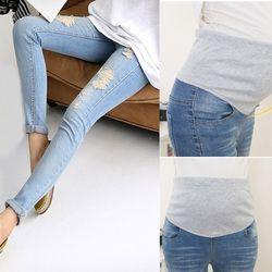 Mode De Maternité Trous Élastique Jeans Pantalon Grossesse Denim Vêtements Femmes Enceintes Ventre Taille Haute Pantalon @ ZJF