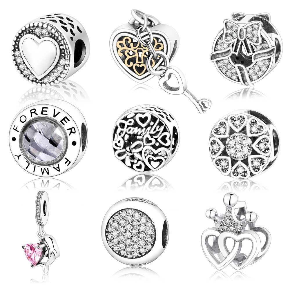 2017 Autumn New Arrive Authentic 925 Sterling Silver Charms Fit Original Pandora Charms Bracelet Heart In Round Factory  Price