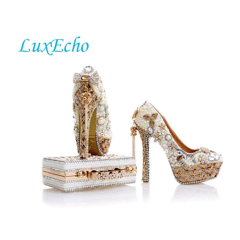 LuxEcho Beige Pearl Wedding shoes with matching bags 14cm high heels Platform shoes woman Party Dress shoe and bag set