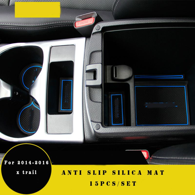 15 pièces antidérapant x-trail porte pad tasse tapis porte porte fente mat case pour nissan x trail 2014 2015 xtrail auto accessoires voiture style