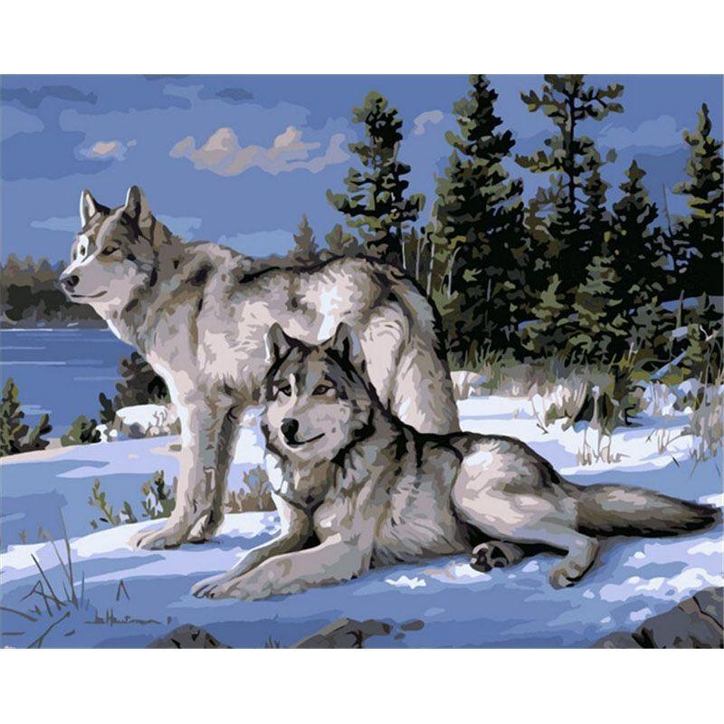 Sans cadre Wolfs animaux peinture à la main par numéros moderne acrylique image peint à la main peinture à l'huile pour la décoration de la maison 40x50 cm
