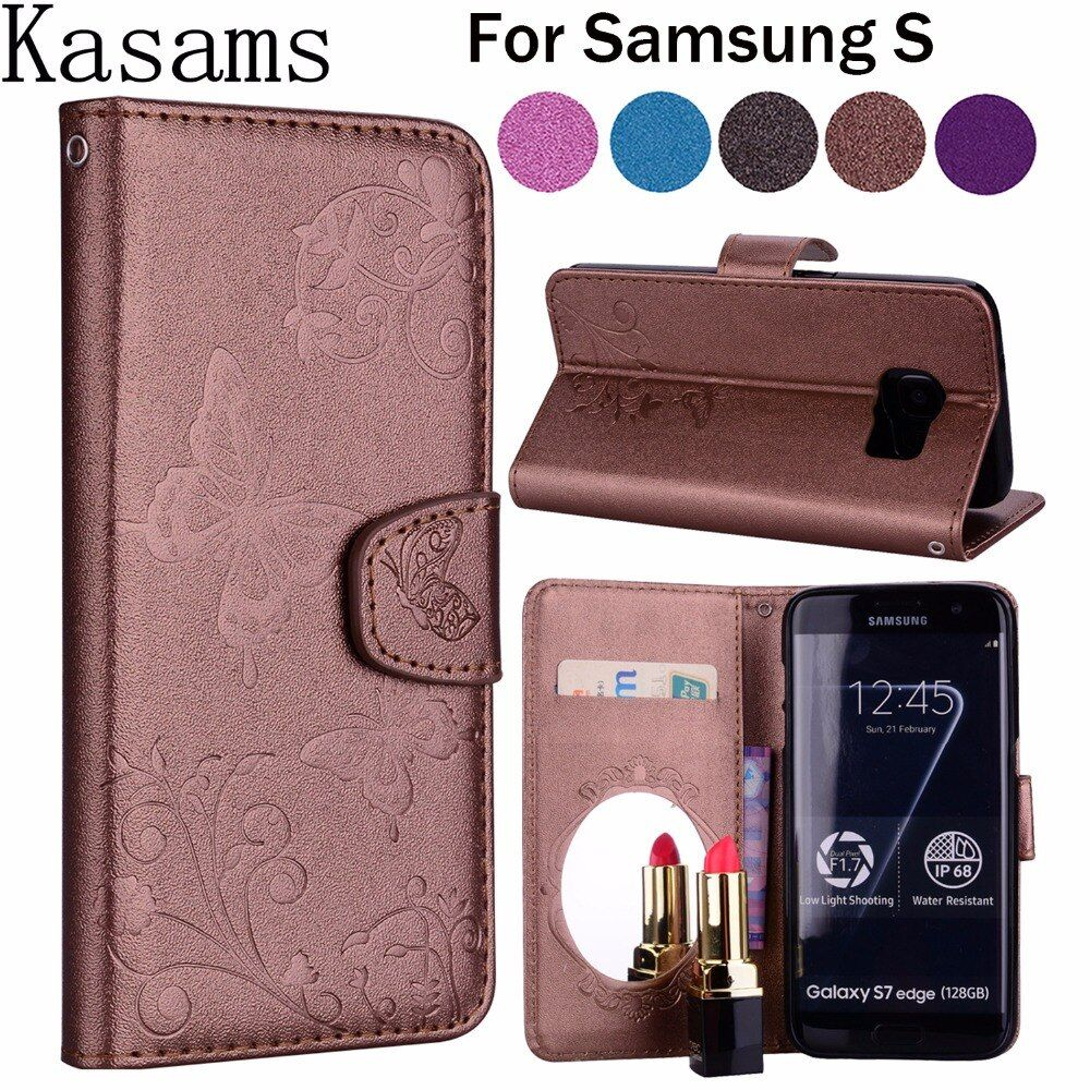 For Samsung Galaxy S 7 S7 Edge S6 Edge S 6 Edge+ Fashion Flip Leather Cover Mirror PU Wallet Phone Case G935 G930 G928 G925 G920