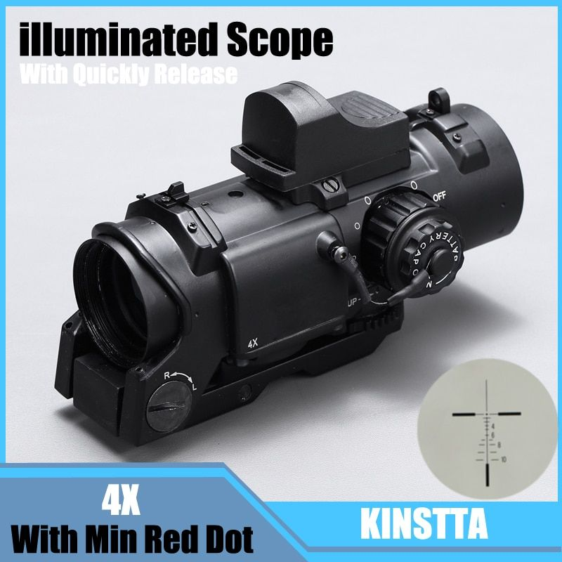 Tactical 4x Fixed Dual Purpose Scope With Mini Red Dot Scope Red Dot Sight For Rifle Hunting Shooting CS Battle And Hunter