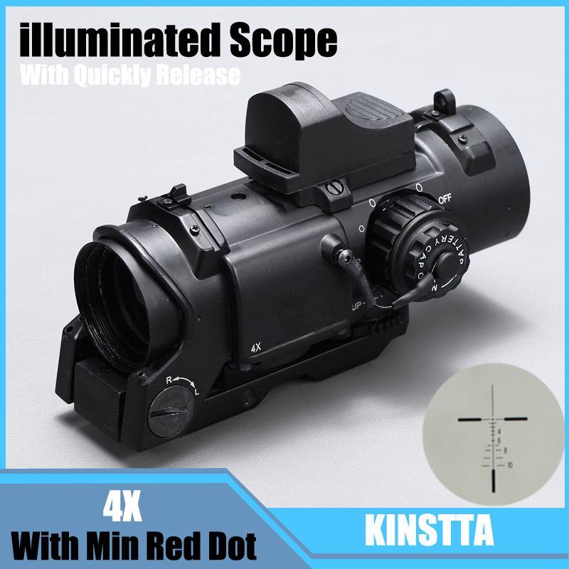 Taktische 4x Fest Dual Zweck Umfang Mit Mini Red Dot Scope Red Dot Anblick Für Gewehr Jagd Schießen CS Schlacht und Hunter