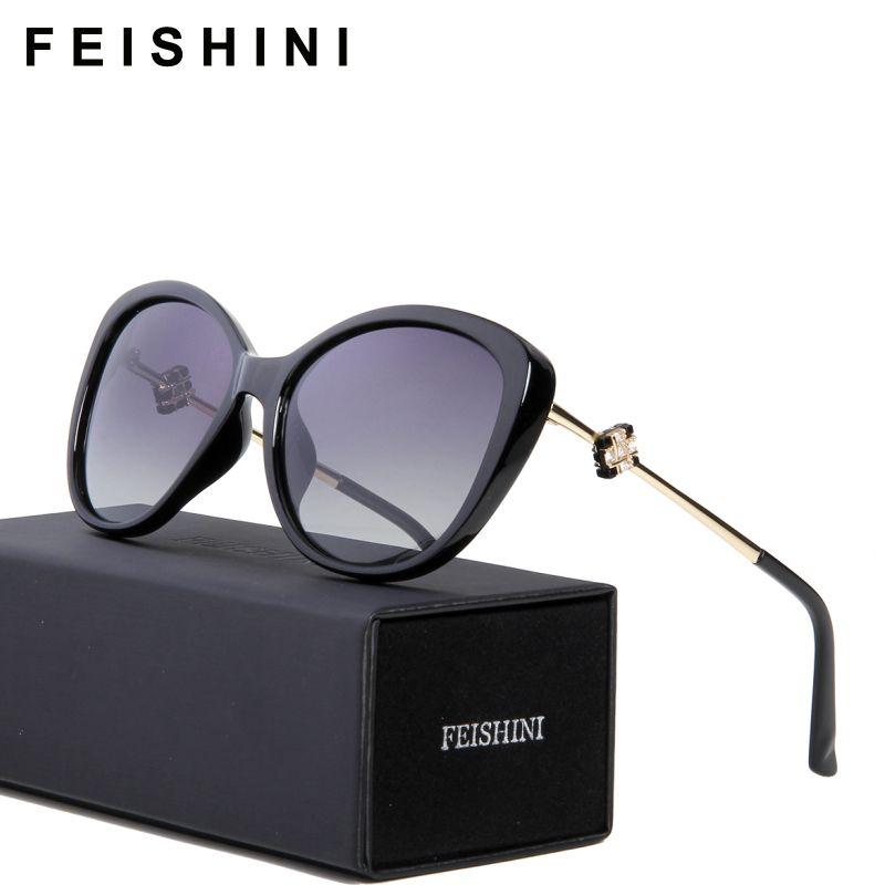 FEISHINI 58900 Haute Qualité Vintage oculos de sol feminino Mode HD Clair Ovale Dames Rose Lunettes De Soleil Polarisées Femmes Marque 2018