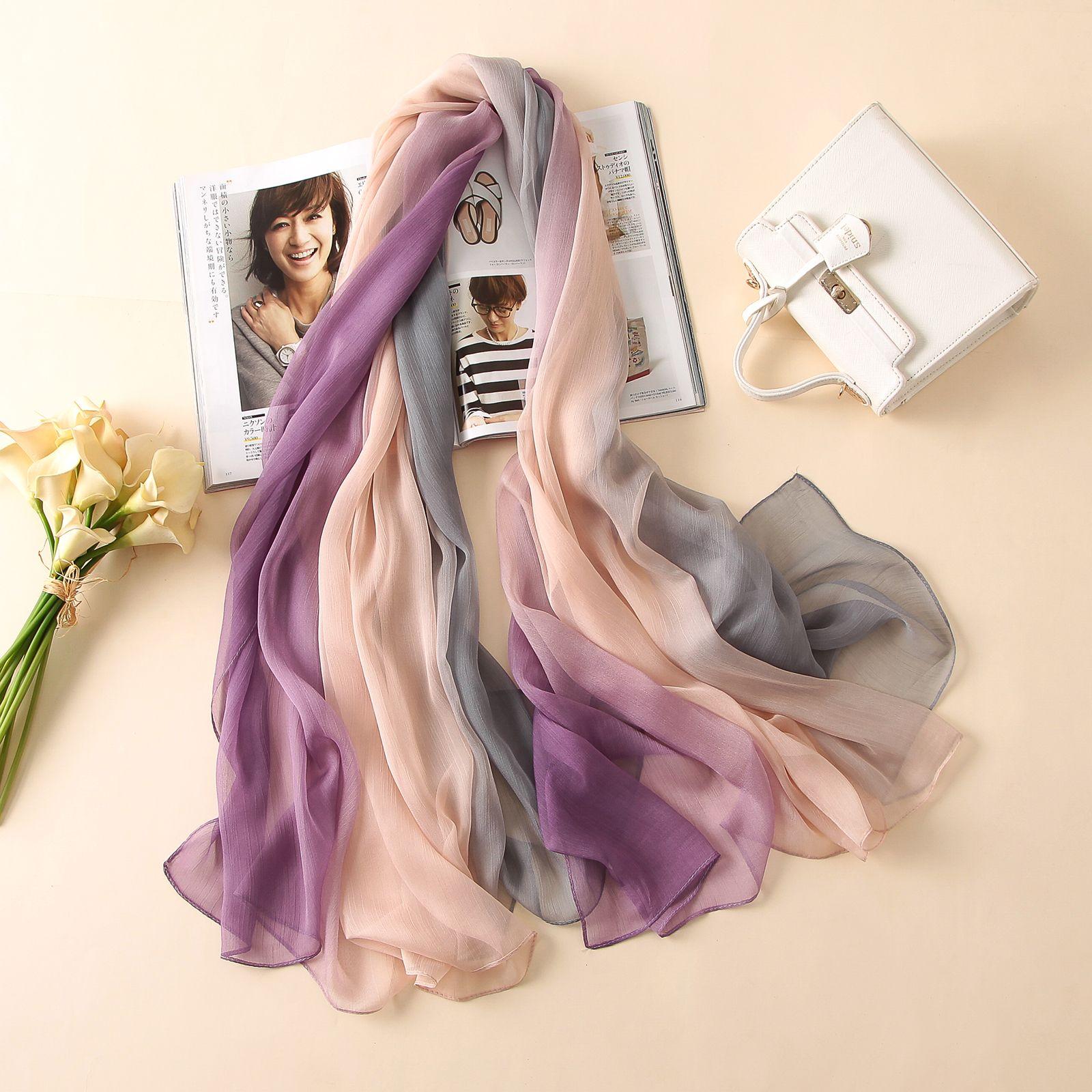 2018 d'été femmes écharpe de mode doux Crépon couleur bonbon foulards en soie châles pashmina dame bouchons femelle bandanas grand Foulard