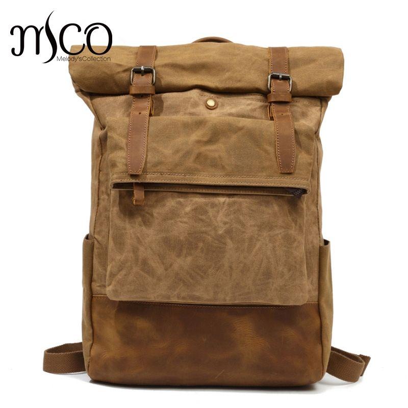 2018 Fashion Men Vintage Waxed Canvas Backpack School Waterproof Travel Bag Double Retro Rucksack DuffelBag Weekender Bagpack