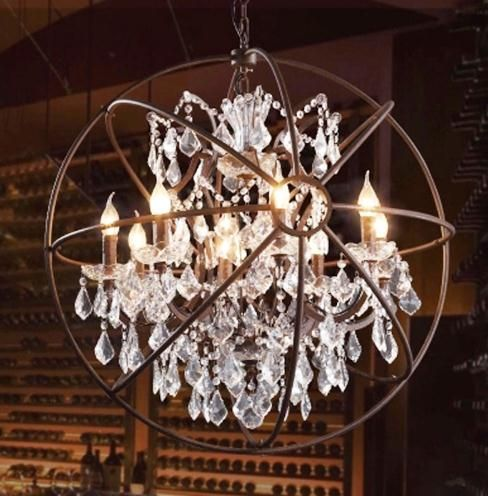 Vintage Orbital K9 Crystal Chandelier Lamp DIY American Home Deco Living Room Retro Rust Iron luxury Chandelier Lighting Fixture