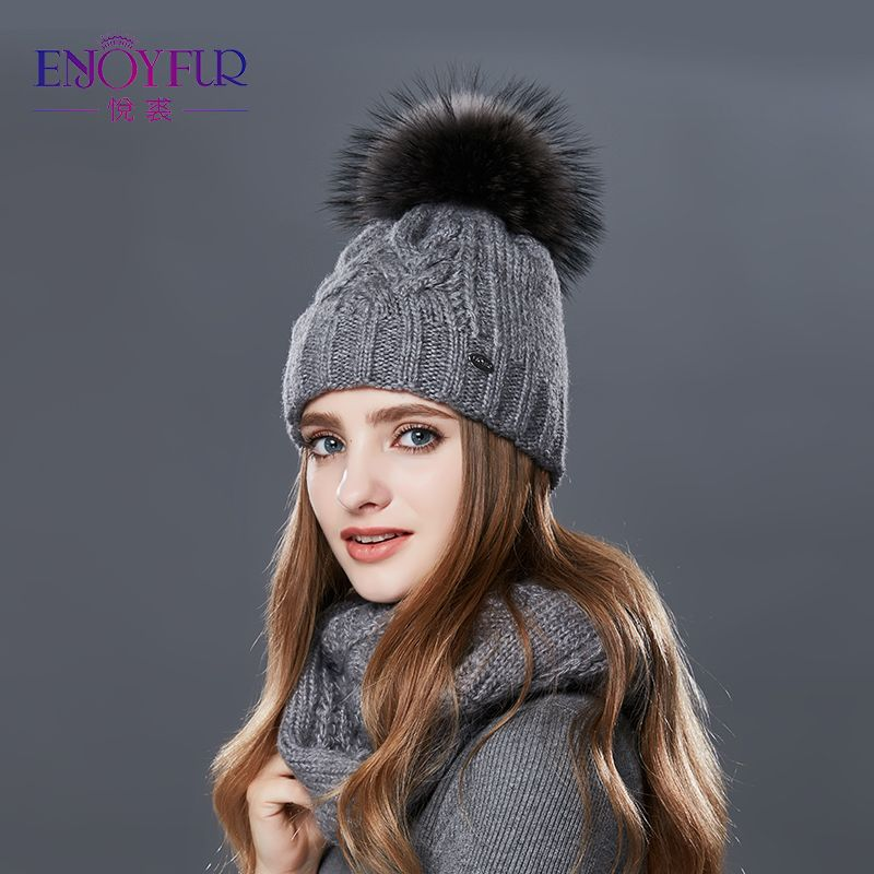 ENJOYFUR Women's Autumn Winter Scarf Hat Sets Double Layer Thick Warm Fur Pom pom Hat And Scarf Beanies