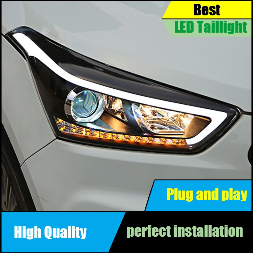 Car Styling Head Lamp For Hyundai Creta IX25 2015 2016 2017 Headlights LED Dynamic Turn Signal Light LED DRL Bi-Xenon Low Beam