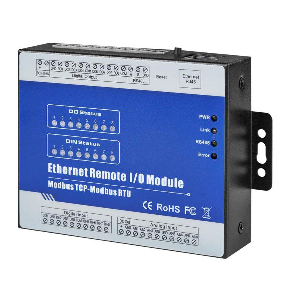 IOT RTU Modul Modbus TCP Ethernet Remote IO Modul 8DI + 8 Relais Embedded Web server für konfiguration M140T