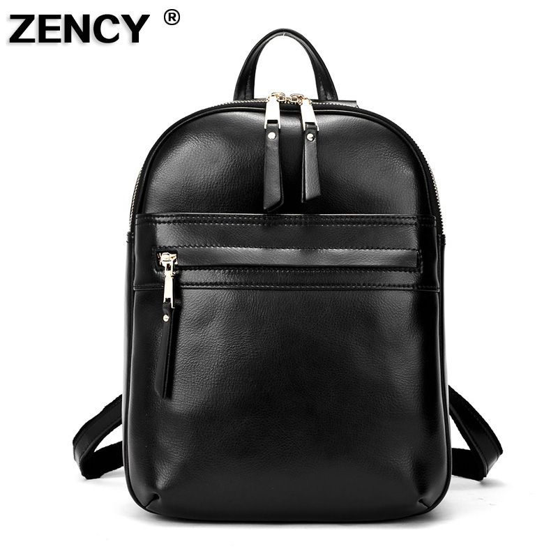 Fashion Real Genuine Leather Women's Shopping Backpacks Ladies' Daily Cowhide Backpack Female Girl's School Book Bag Rucksack