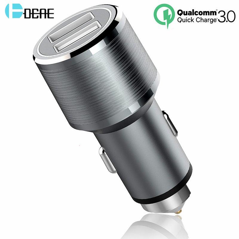DCAE Chargeur De Voiture Charge Rapide 3.0 2 Port Soutien QC3.0 Usb Voiture-Chargeur pour iPhone X 8 7 6 s 5S Samsung Galaxy S8 Xiaomi HTC LG