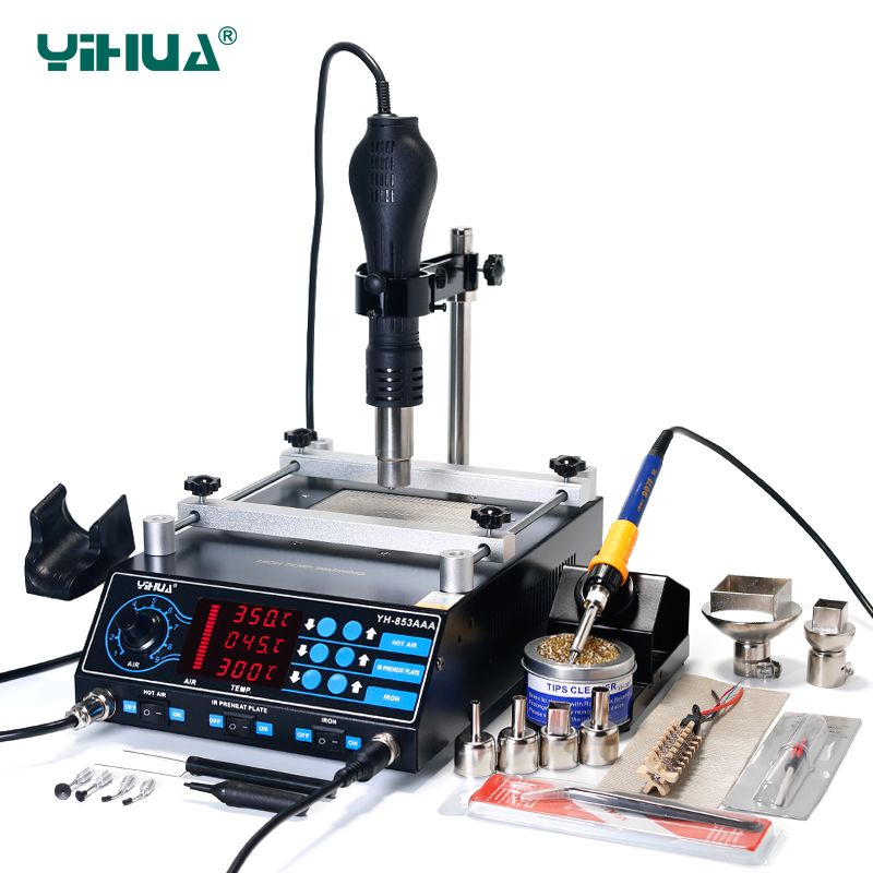 YIHUA 853AAA Infrared Bga Rework Station 60W Tin Soldering Iron Power Functional Air Soldering Station 3 In 1 Preheating Station