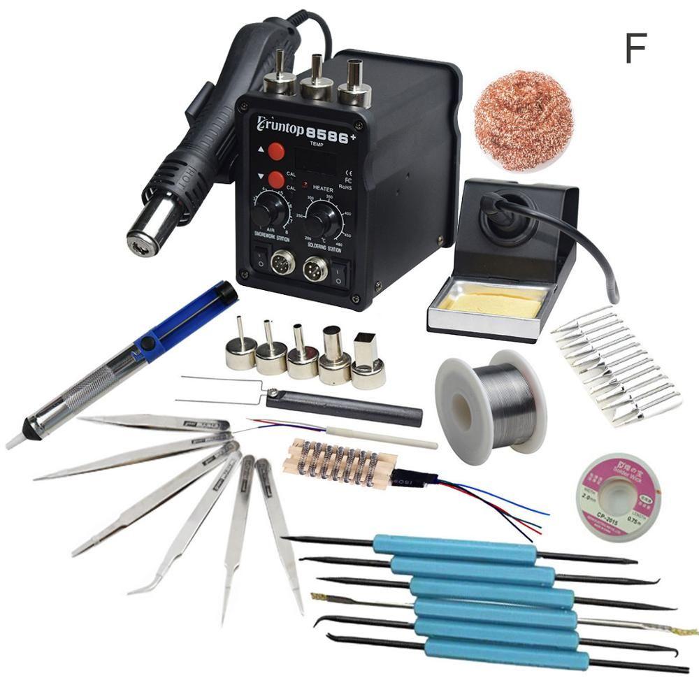 2 en 1 Eruntop 8586 + affichage numérique fers à souder électriques + pistolet à Air chaud meilleur Station de reprise SMD amélioré 8586 support en métal