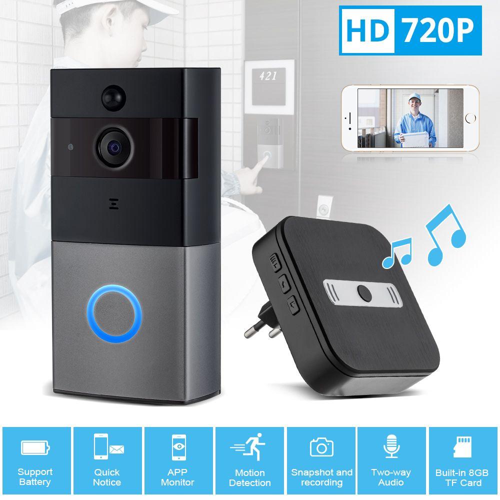 KERUI WiFi Video Doorbell 720P Security Camera Door Phone Two-Way Audio Night Vision Wireless Door Bell Intercom Video Doorbell