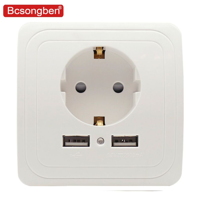 Bcsongben pop Dual USB Port 5V 2A Electric Wall Charger Adapter EU Plug Socket Switch Power Dock Station Charging Outlet Panel