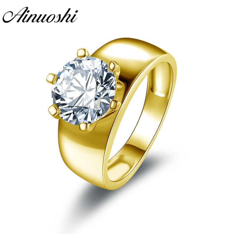 AINUOSHI 10k Solid Yellow Gold Wedding Rings Wide Bridal Engagement Bijoux Femme 2.65 ct Solitaire Simulated Diamond Women Ring