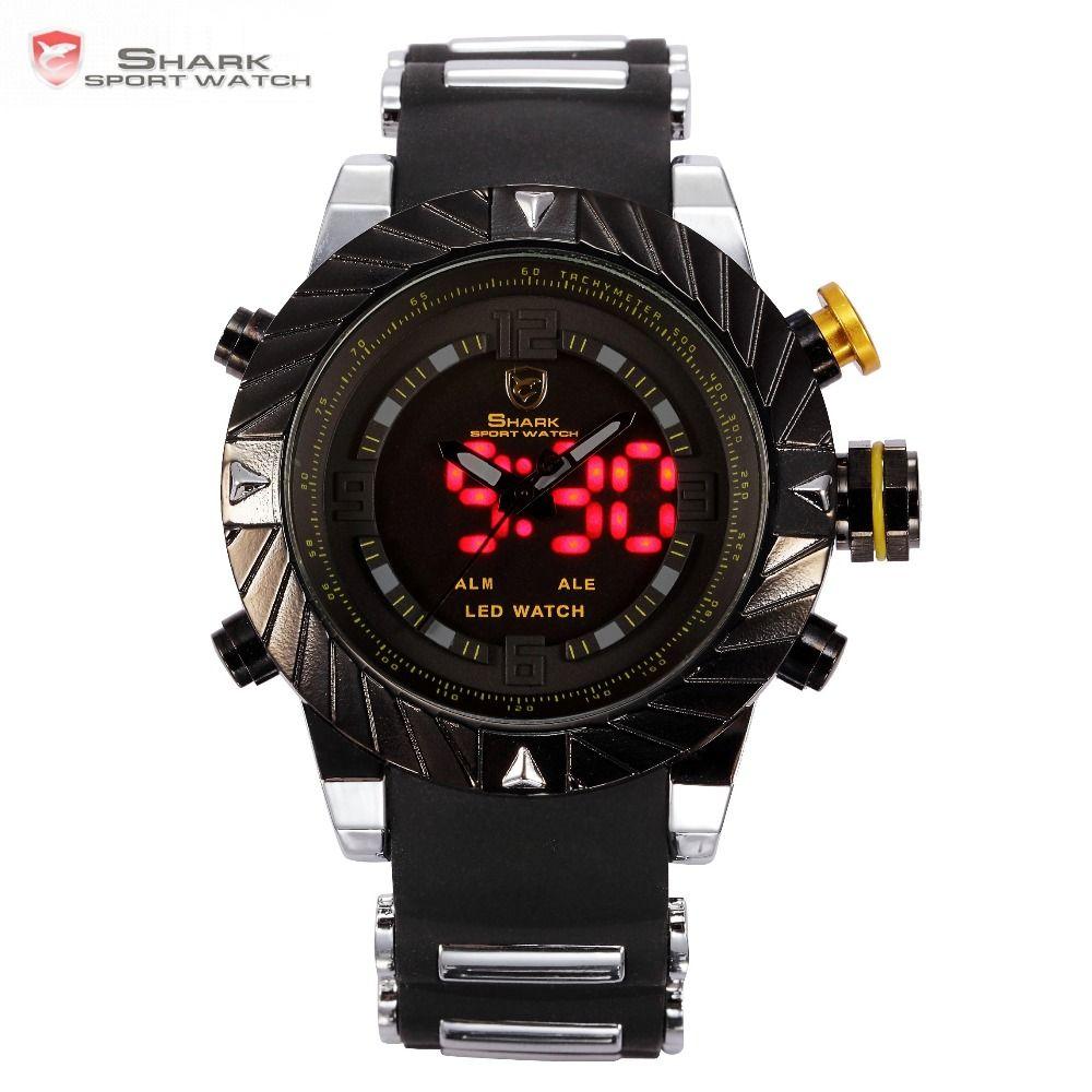 Luxury Goblin <font><b>Shark</b></font> Sport Watch Mens Outdoor Fashion Digital LED Multifunction Waterproof Wrist Watches Relogio Masculino /SH168