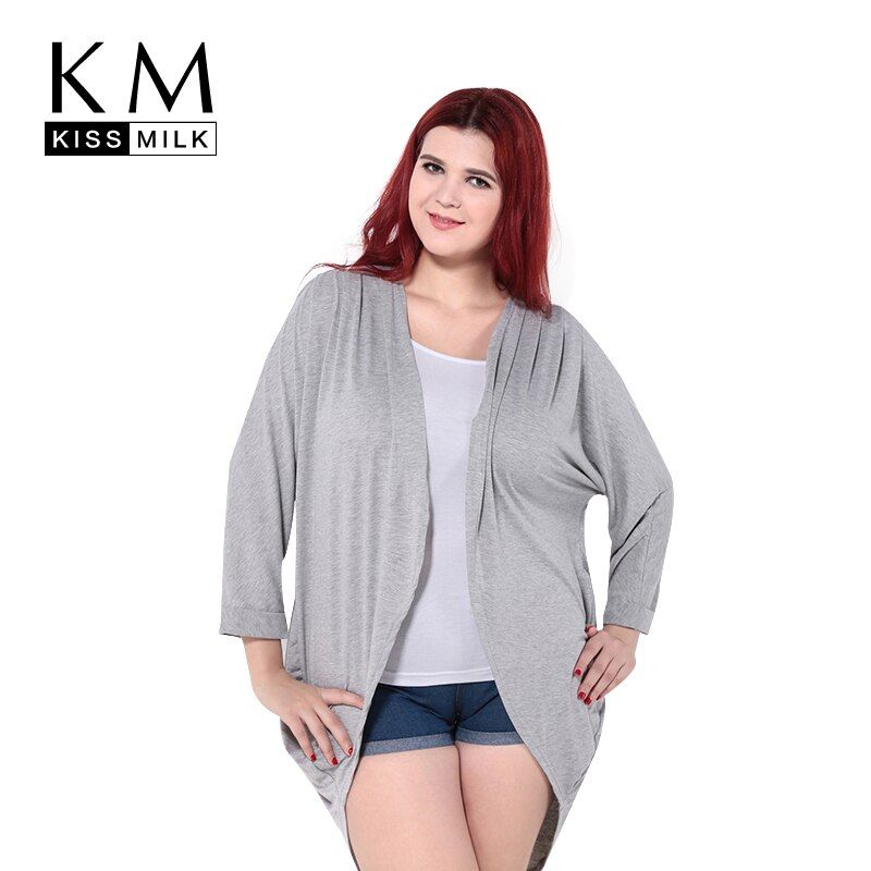 Kissmilk 2018 Plus Size Solid Open <font><b>Front</b></font> Cardigans Kimono Cover Ups Women Coats Tops Lightweight Sweaters Big Size 6XL 2 Colors