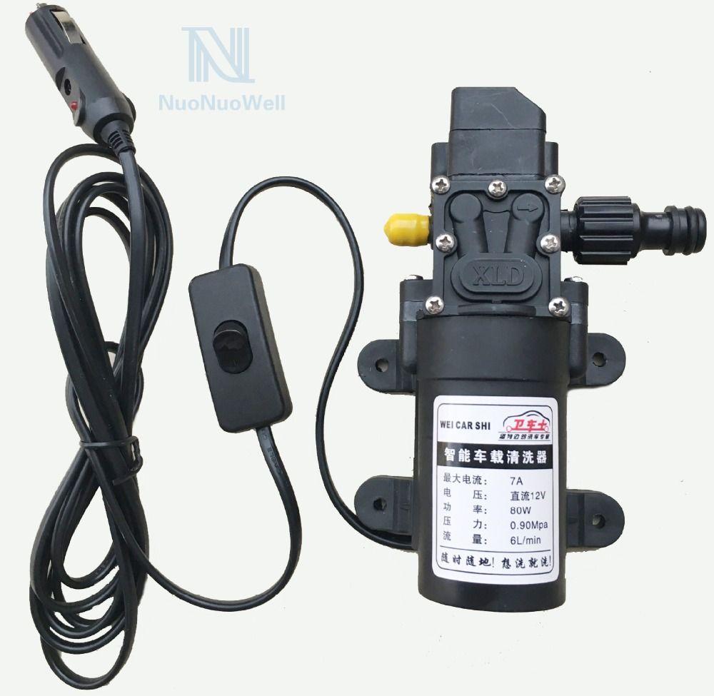 Portable Black DC12V 80W Micro Diaphragm Pump Garden Aquarium Irrigation Sprayer Pump 6L/Min DIY Car Wash Tool Universal