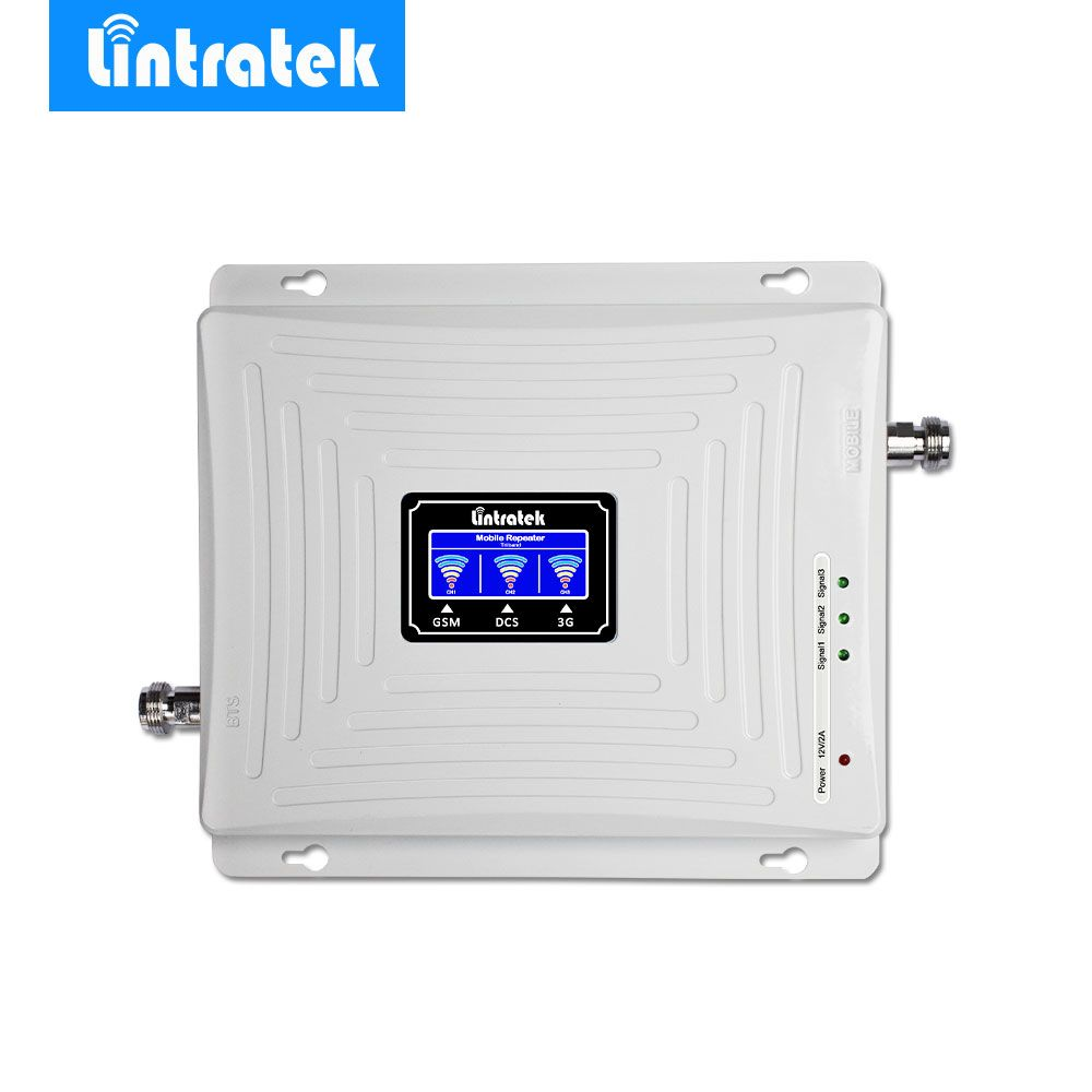 Lintratek LCD Tri Band Signal Booster 2G 3G GSM 900MHz UMTS 2100MHz 4G LTE 1800MHz Mobile Cell Phone Signal Amplifier Repeater*