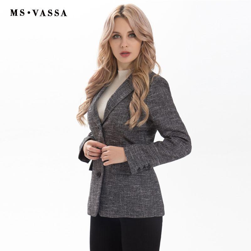 MS Vassa дамы пиджак 2017 новая мода весна Для женщин три кнопки закрытия пиджак короткий формы большие размеры XS 6xl Рабочая одежда