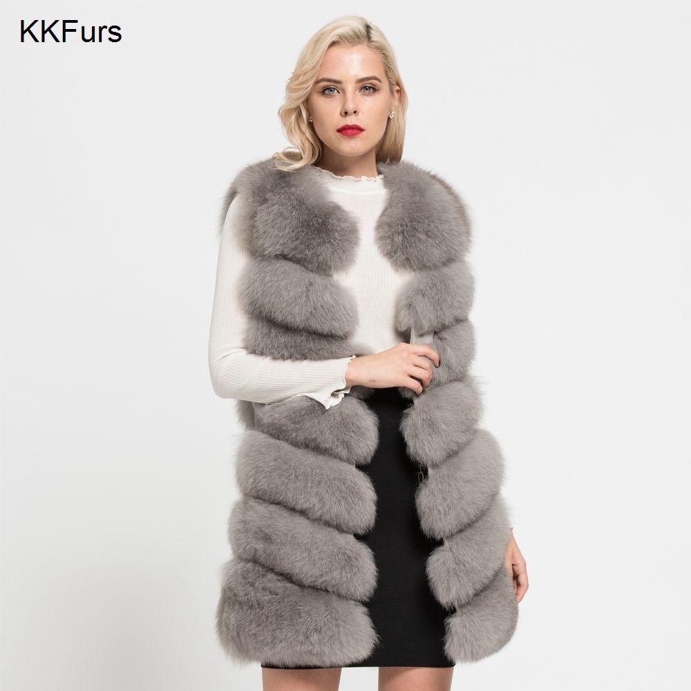 JKKFURS 2018 New Real Fox Fur Vest Women's Fashion Waistcoat Winter Coat 7 Rows Thick Warm Gilet Wholesale S7161