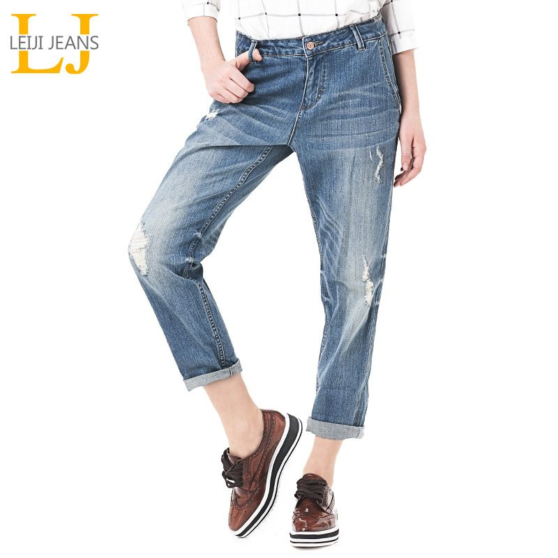 2018 LEIJIJEANS Spring Plus Size Fashion Ripped Hole Bleached Mid Waist Ankle Length Vintage Stretch Loose Harem Women Jeans