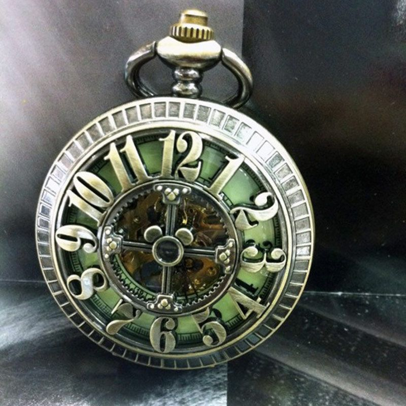 Big Arabic Number Hollow Cross Design Vintage Cut-out Bronze Mechanical Pocket Watch