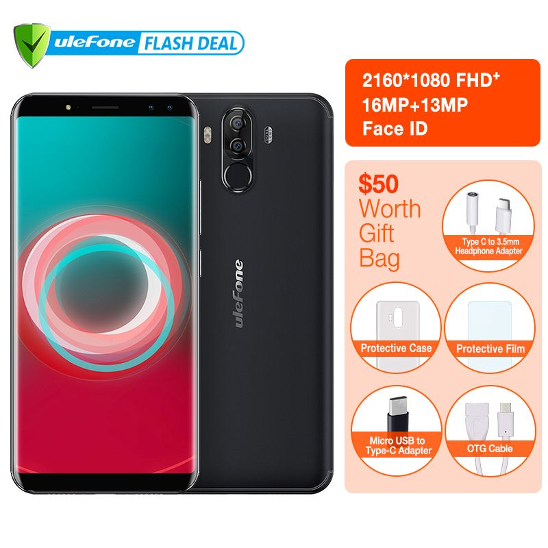 <font><b>Ulefone</b></font> Power 3S 6.0 18:9 FHD+ Mobile Phone MTK6763 Octa Core Android 7.1 4GB+64GB 16MP 4 Camera 6350mAh Face ID 4G Smartphone