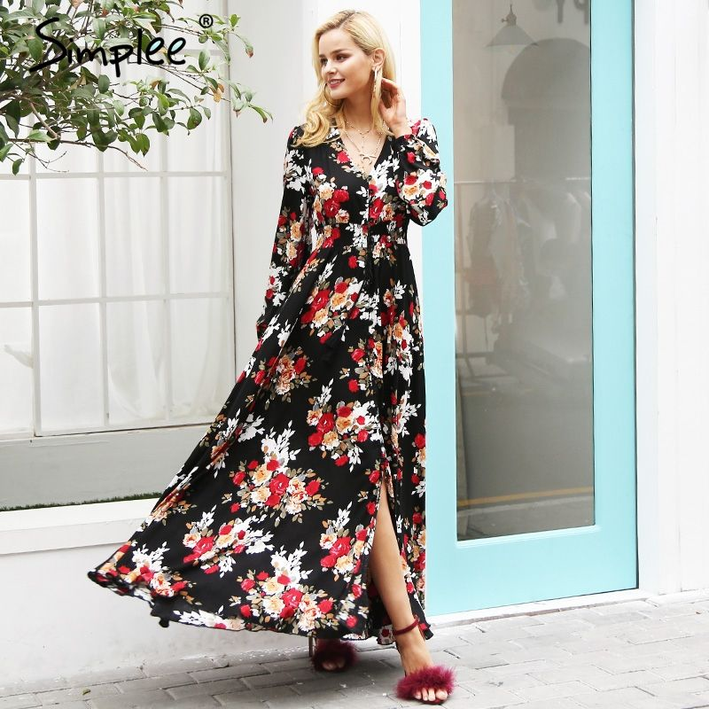 Simplee Elegant v neck floral print long dress women Long sleeve drawstring button autumn maxi dress Casual robe femme vestidos