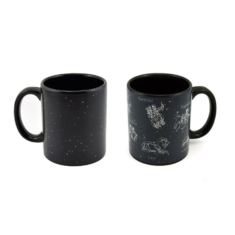New Creative Magic Star Mugs 12 constellations mug Color <font><b>changing</b></font> mug black sky Cup Ceramic Coffee Tea Cup Christmas Gift Mugs