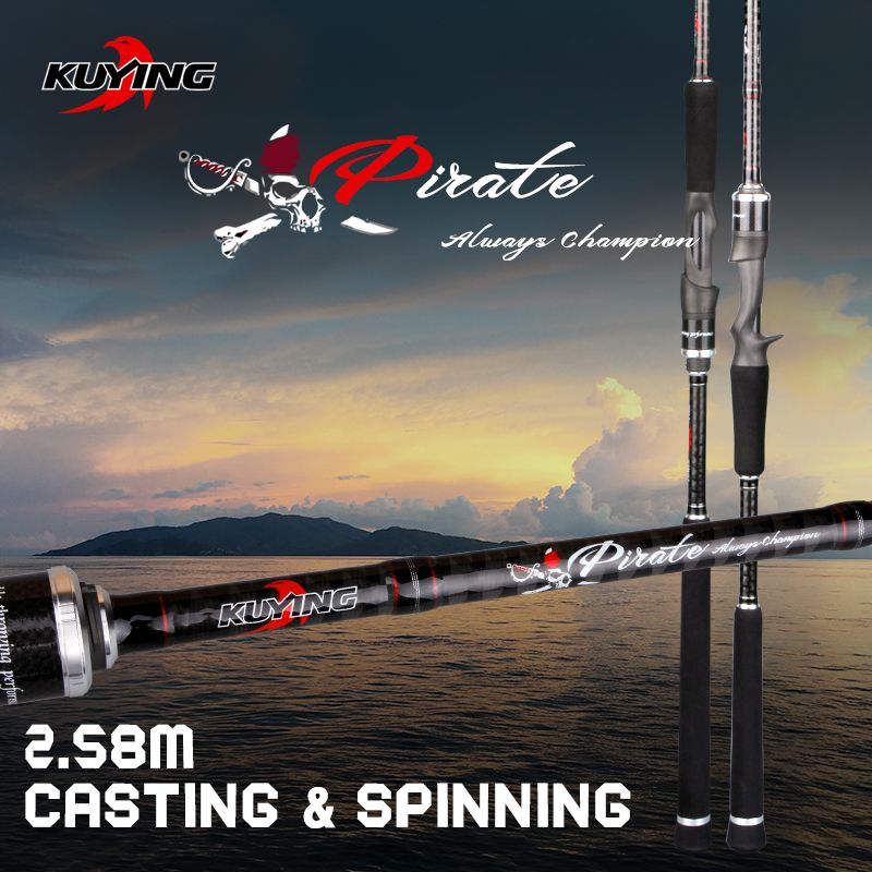 KUYING Pirate 2,58 mt 8'6 Carbon-Casting Spinning M Köder Angelrute Fisch Cane Pole FUJI Teile Medium Schnelle action Weit Casting