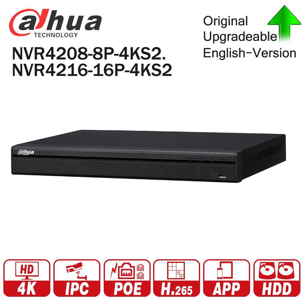 Dahua 4K NVR NVR4208-8P-4KS2 NVR4216-16P-4KS2 With PoE Port Support 4K POE H.265 2 SATA for Profession IP Camera Security System