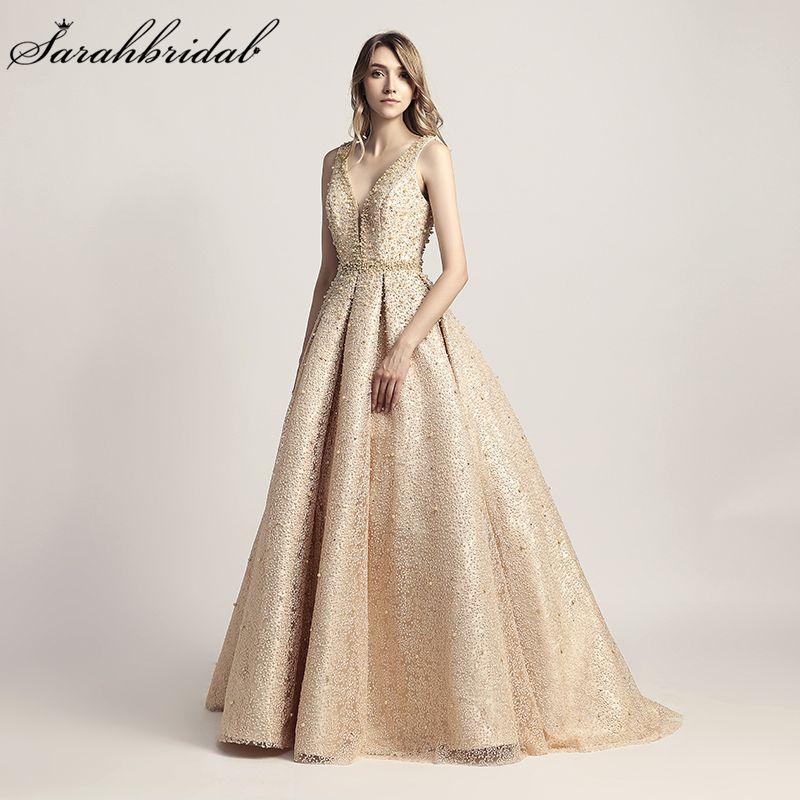 Echt Fotos 2018 Neuheiten Luxus Elegante Lange EINE Linie Abendkleider Perlen Party Kleider Formal Robe De Soiree LSX442