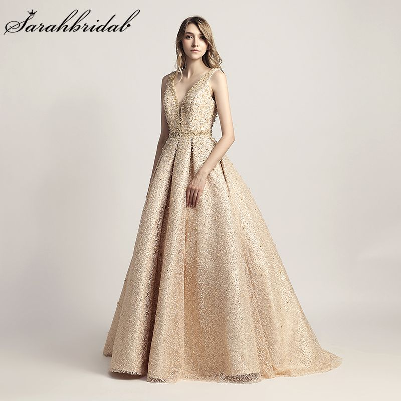 Real Photos 2018 New Arrivals Luxury Elegant Long A Line Evening Dresses Pearls Party Gowns Formal Robe De Soiree LSX442