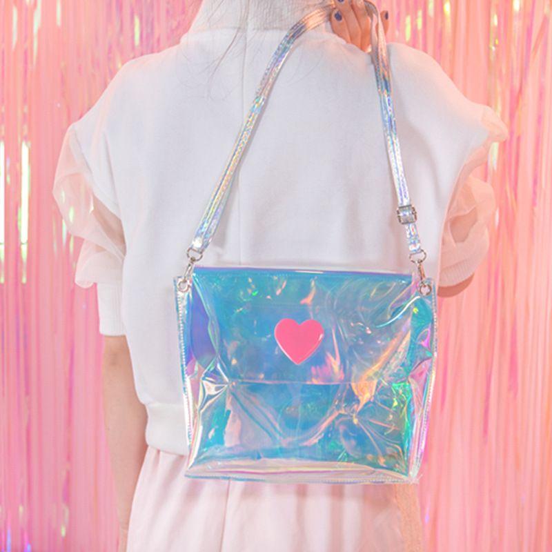 Femme sacs 2019 argent femmes sac à bandoulière hologramme petites dames sacs clair sacoche filles été sac à bandoulière Mini sac à main