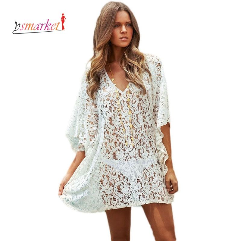 Sexy Lace Beach Cover Up Dress Cotton Tunic New Arrival Summer Women Swimsuit Sexy V Neck Beach Kaftan Sun Protection Dress