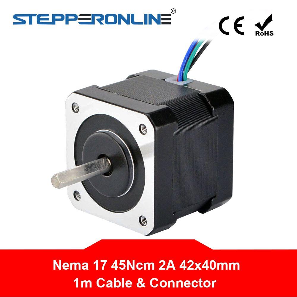 Nema 17 moteur pas à pas Nema 17 bipolaire 2A 1m câble (17HS16-2004S1) pour imprimante 3D CNC Robot Reprap Prusa