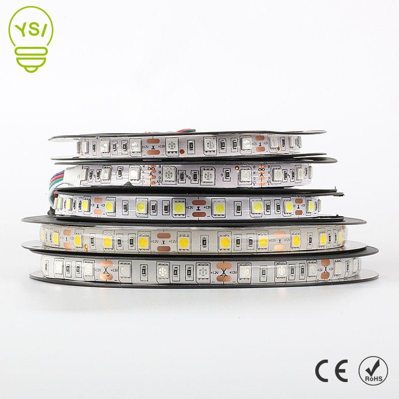 5M Led Strip Light 5050 3528 DC12V 60led/m Led Fiexble Light Lamp Waterproof RGB White Warm White Blue Green Red Ribbon Tape