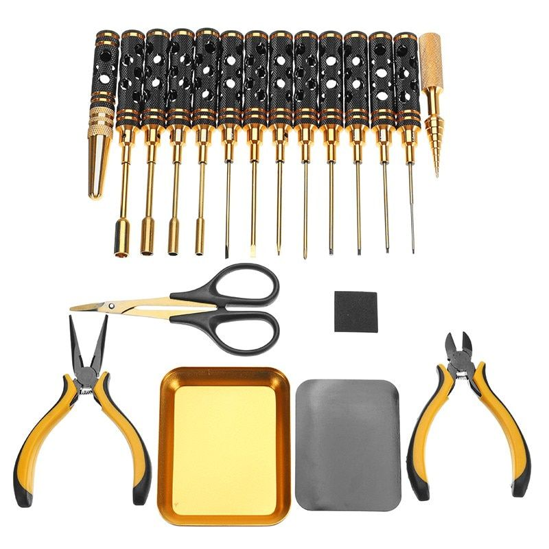 YZ 18pcs Screwdriver Repair Tool Set Hex Screwdriver Pliers Hole Opener Screws Tray Tools For RC Toy