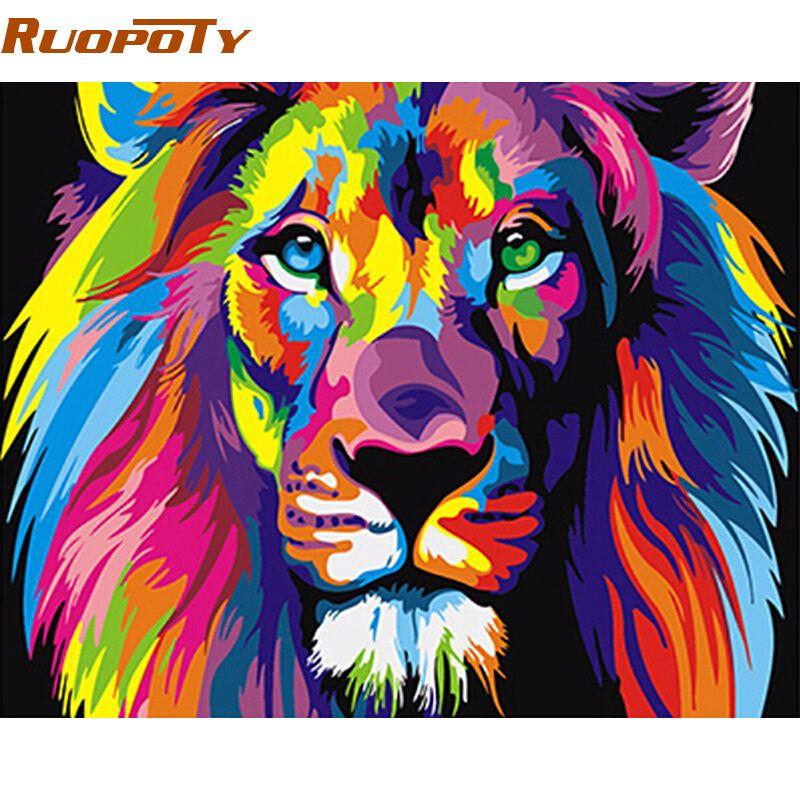Cadre RUOPOTY coloré Lions animaux peinture à la main par numéros moderne peint à la main peinture à l'huile cadeau Unique pour enfants 40X50 cm