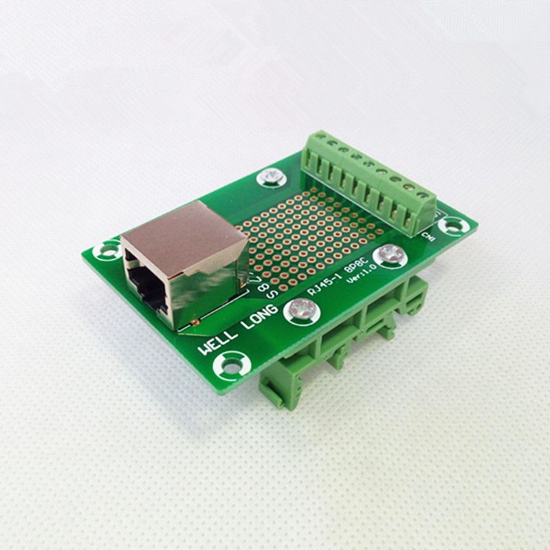 RJ45 8P8C Right Angle Jack1-Way Buss Breakout Board,Terminal Block, Connector.