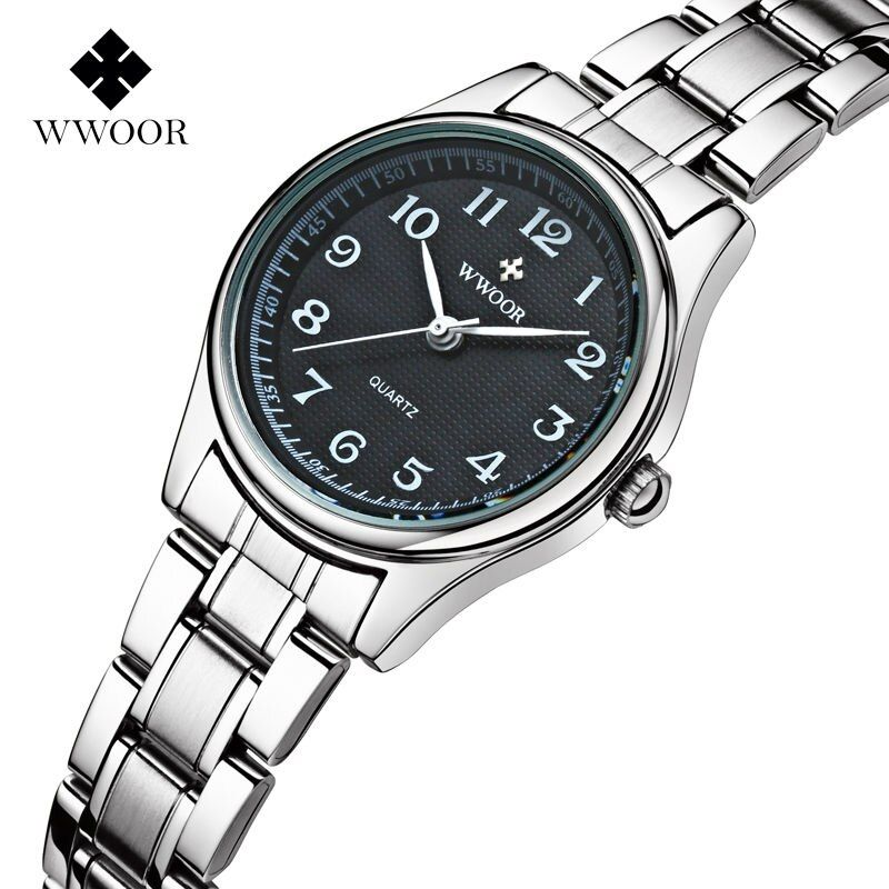 Top Brand WWOOR Women Watches Stainless Steel Band Analog Display Quartz Wrist watch Ladies Luxury Couple Watch Relogio Feminino