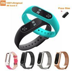 Xiao mi banda 2 pulsera inteligente Sport Fitness tracker Bluetooth Smart Wristband pulsera impermeable mi banda 2 con correa de metal