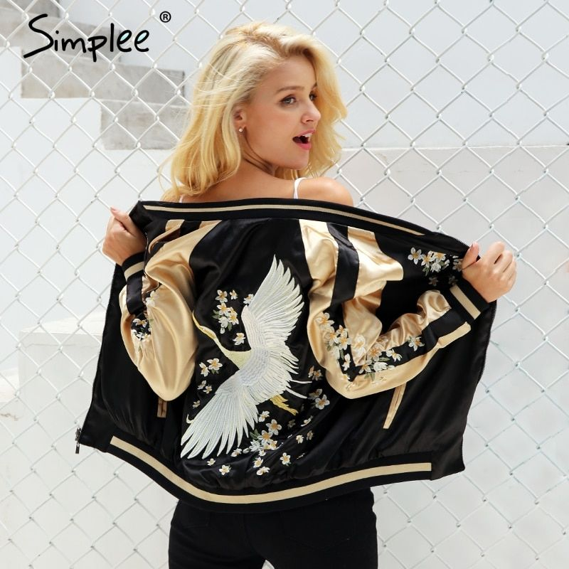 Simplee Vintage embroidery basic jacket coat Autumn 2017 street satin bomber jacket Women reversible baseball jackets sukajan